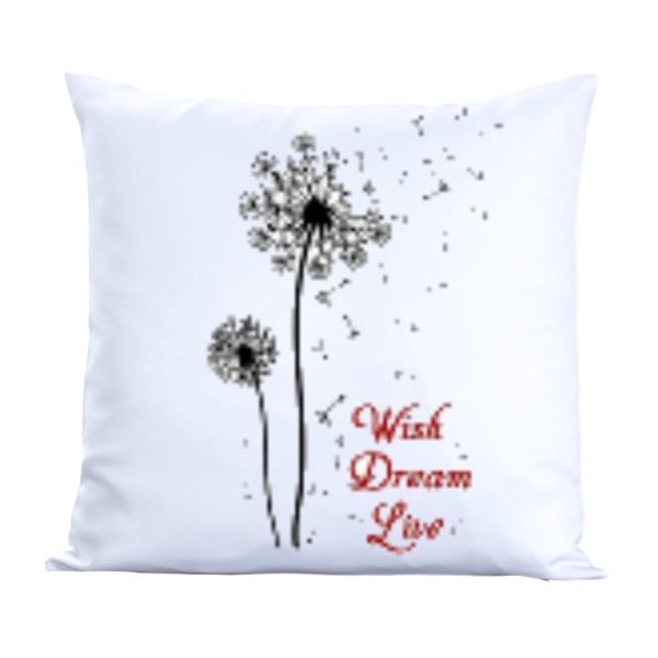 Wish, Dream, Live-Pillow Cover Polyester Canvas Square 40cm