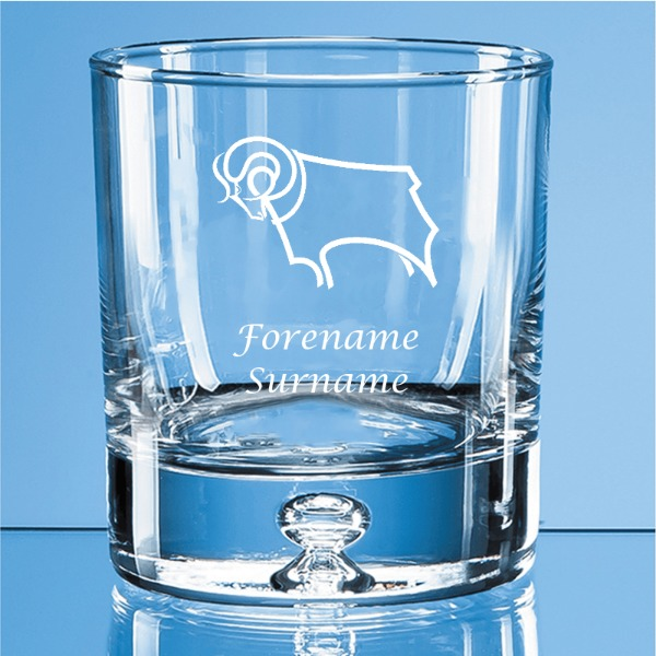Derby County Crest Bubble Base Whisky Tumbler