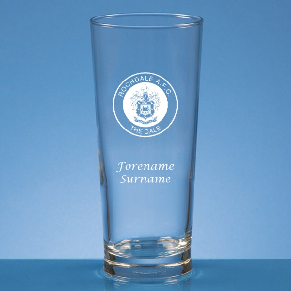 Rochdale FC Crest Straight Sided Beer Glass