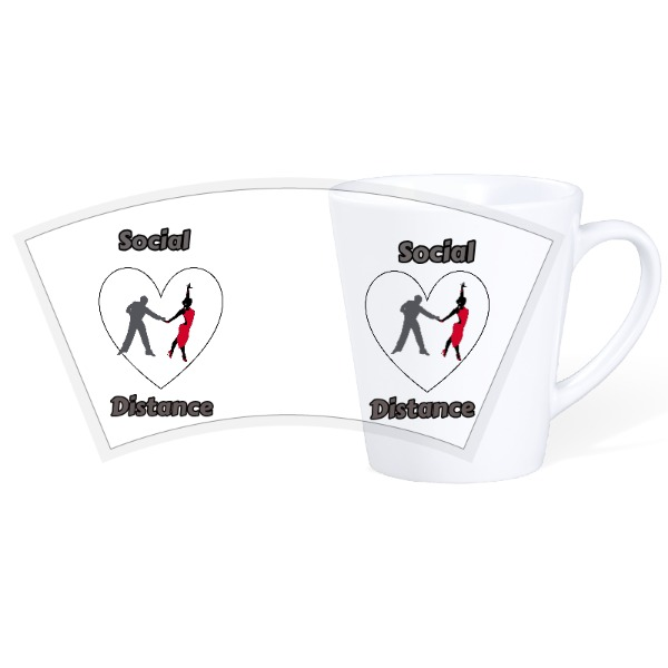 Lady and Gent Social Distance - 12oz Ceramic Latte Mug
