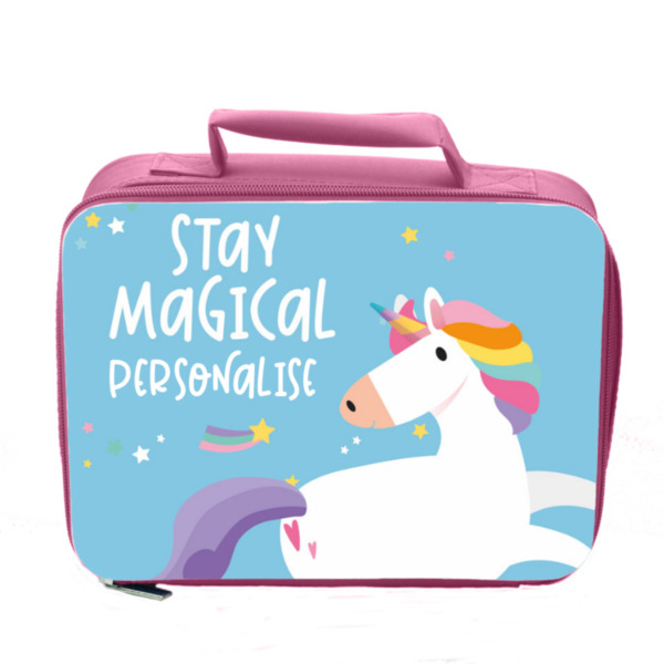 Personalised Unicorn Insulated Lunch Bag - Pink
