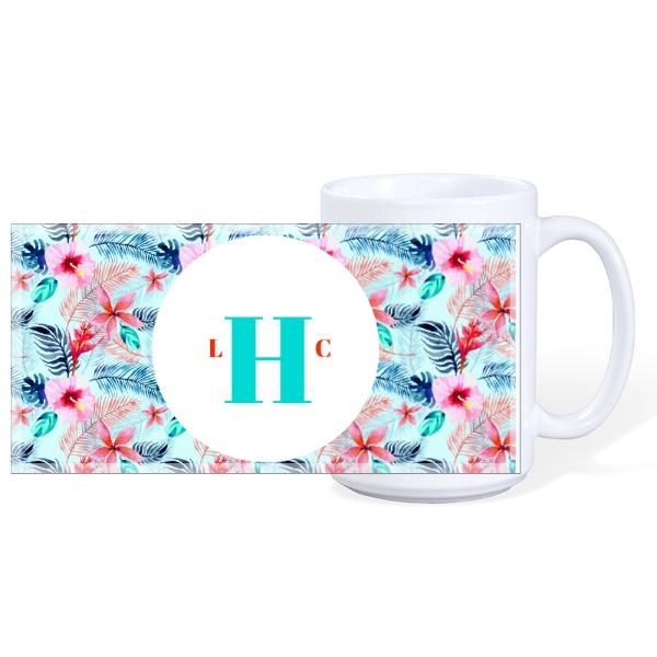 Floral Monogram Mug - Mug Ceramic White 15oz