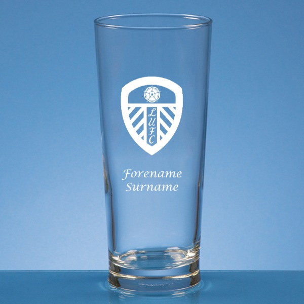 Leeds United FC Crest Straight Sided Beer Glass