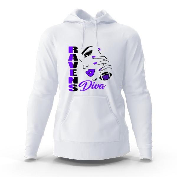 Raven's Diva Hoddie - Hoody Sweatshirt Large Print Area