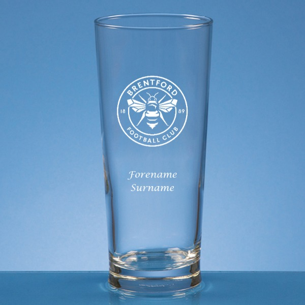 Brentford FC Crest Straight Sided Beer Glass