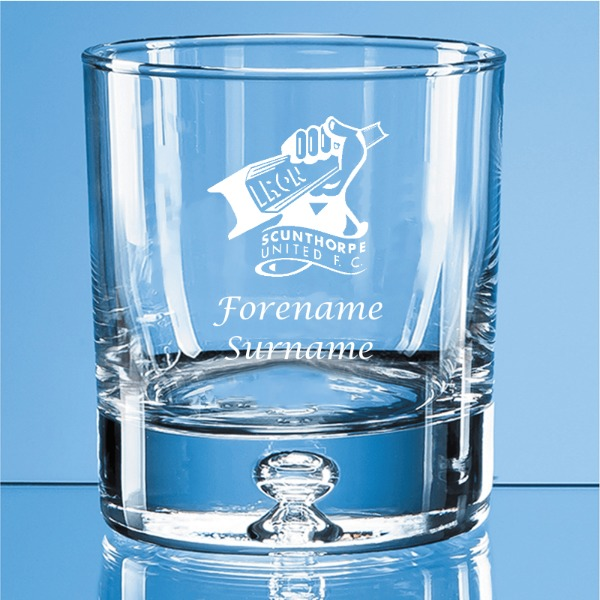Scunthorpe United FC Crest Bubble Base Whisky Tumbler