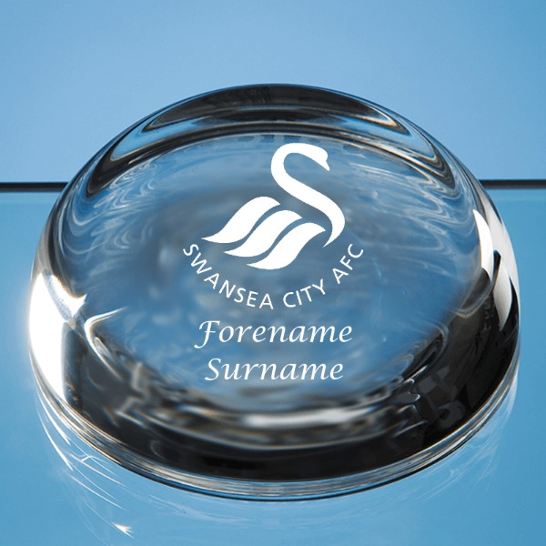 Swansea City AFC Crest Optical Crystal Dome Paperweight