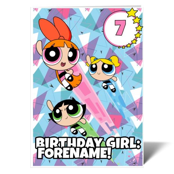 Powerpuff Girls Pattern Number Birthday Girl Card