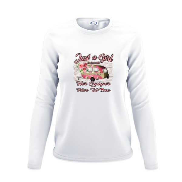 Just a girl in love with her camper and wine - Ladies Solar Long Sleeve