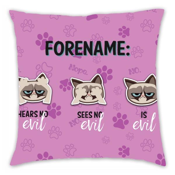 Grumpy Cat Emoji - Three Wise Cats Cushion Pink