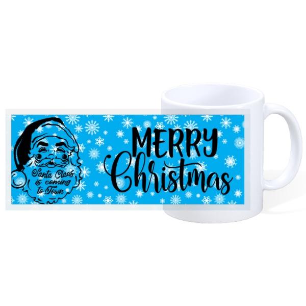 Santa Christmas Mug Blue Background - 11oz Ceramic Mug