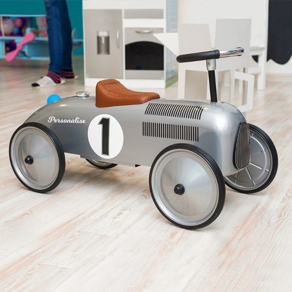 Personalised Ride On Car - Classic Silver Race Car