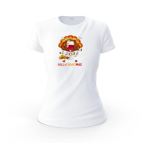 hallothanksmas T-shirt - Ladies Solar Short Sleeve Small Print Area