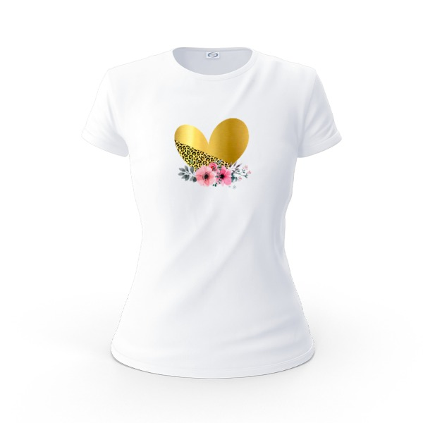 Gold Heart  L - Ladies Solar Short Sleeve Small Print Area