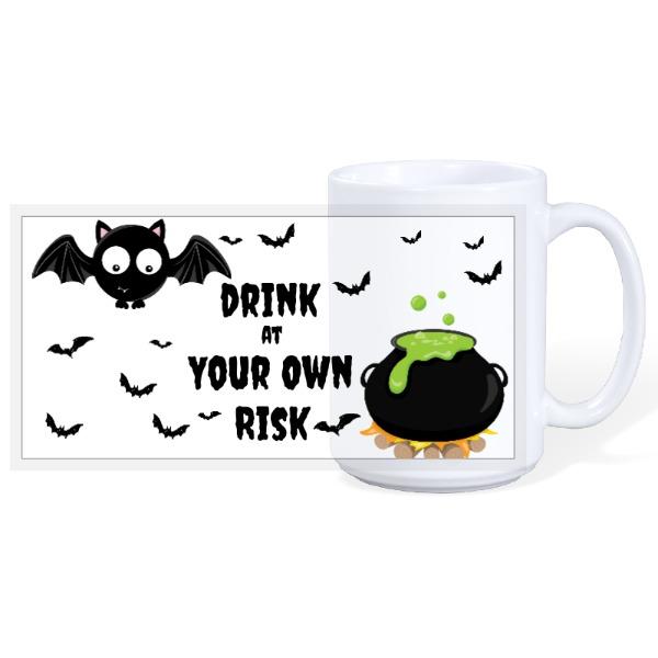 Cute bat & poison cauldron - 15oz Ceramic Mug