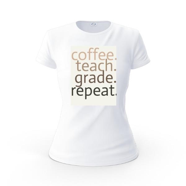 coffee, teach, grade, repeat - Ladies Solar Short Sleeve
