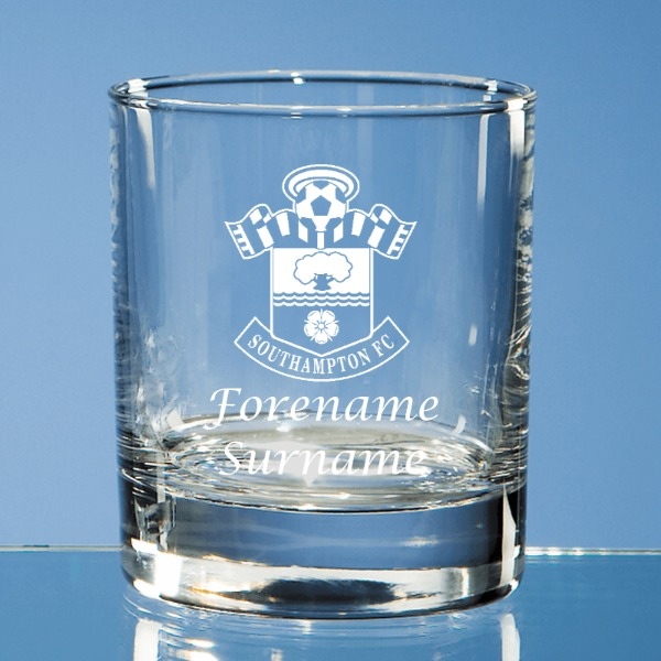Southampton FC Personalised Crest Bar Line Old Fashioned Whisky Tumbler