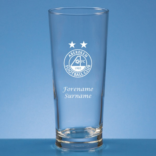 Aberdeen FC Crest Straight Sided Beer Glass