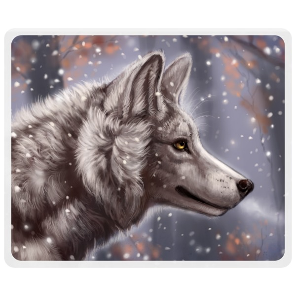 Wolf Frosted by Flash White - Mousepad