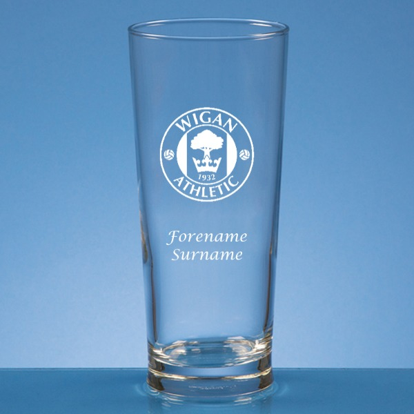 Wigan Athletic FC Crest Straight Sided Beer Glass