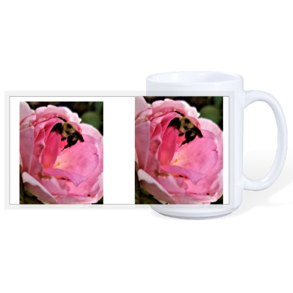 Flowers Rose and Bee - 15oz Ceramic Mug