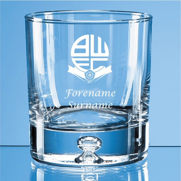 Bolton Wanderers FC Crest Bubble Base Whisky Tumbler