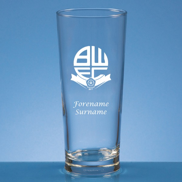 Bolton Wanderers FC Crest Straight Sided Beer Glass