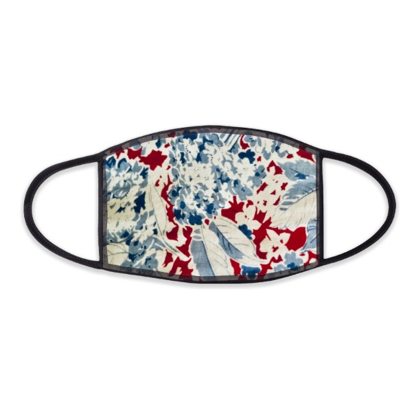 Red, White & Blue Floral Face Mask - Face Mask- Large