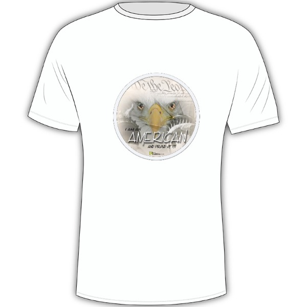 I Am An AMERICAN & PROUD of it! - Mens Solar Short Sleeve Large Print Area