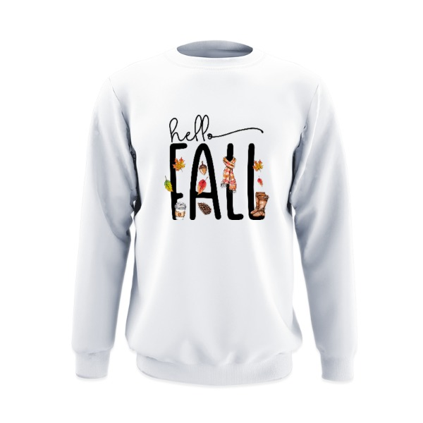 Hello Fall - Crew Sweatshirt Large Print Area