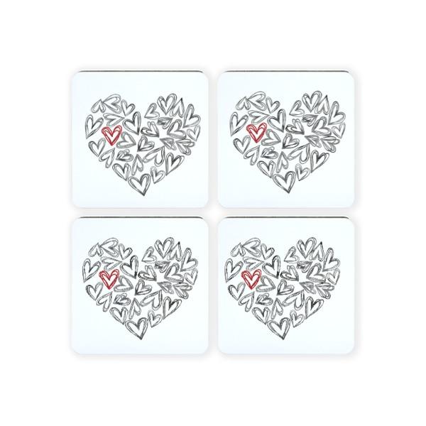 hearts coaster - Square Coaster Set