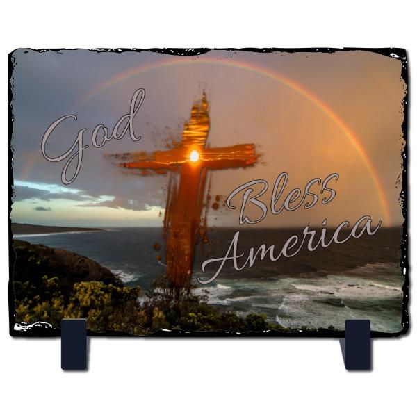 God Bless America Rec Slate - Slate Photo Panel Stone Rectangle