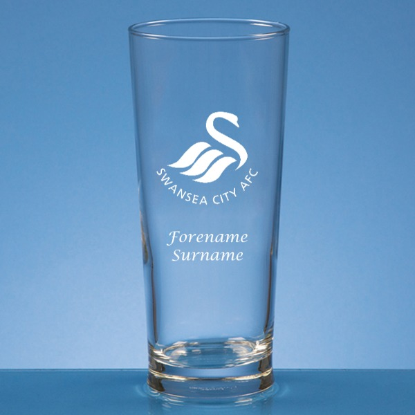 Swansea City AFC Crest Straight Sided Beer Glass