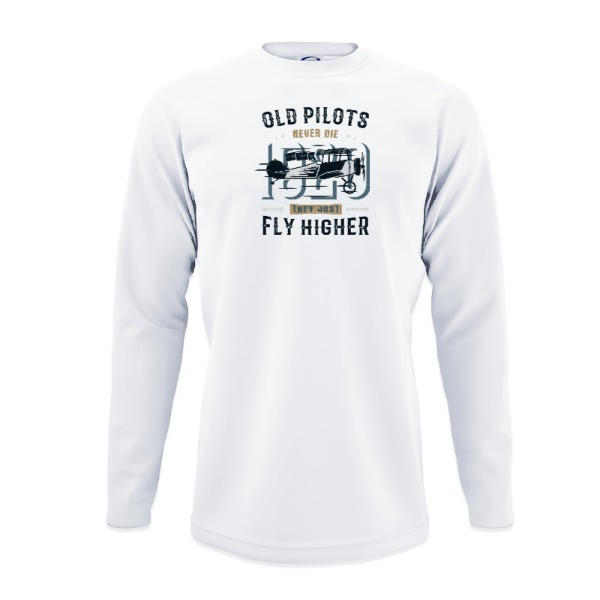 Old Pilot - Mens Solar Long Sleeve Small Print Area