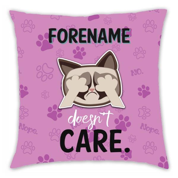 Grumpy Cat Emoji - Doesn't Care Cushion Pink