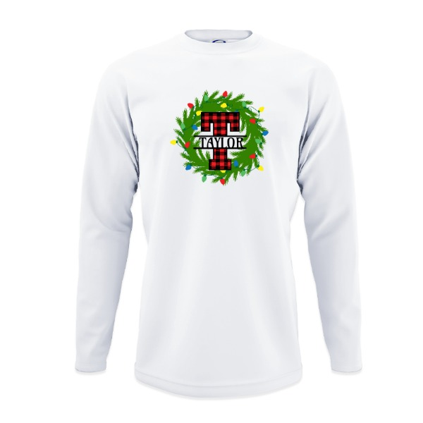 Letter T christmas Wreath - Mens Solar Long Sleeve Large Print Area