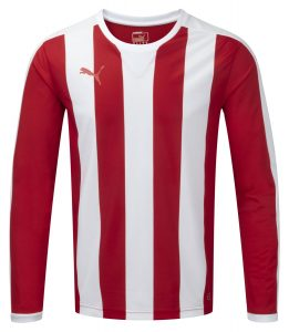 Puma Striped L/S Shirt-Red/White