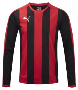 Puma Striped L/S Shirt-Puma Red/Black