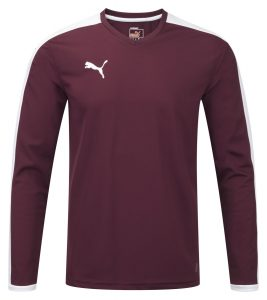 Puma Pitch L/S Shirt-Burgundy/White