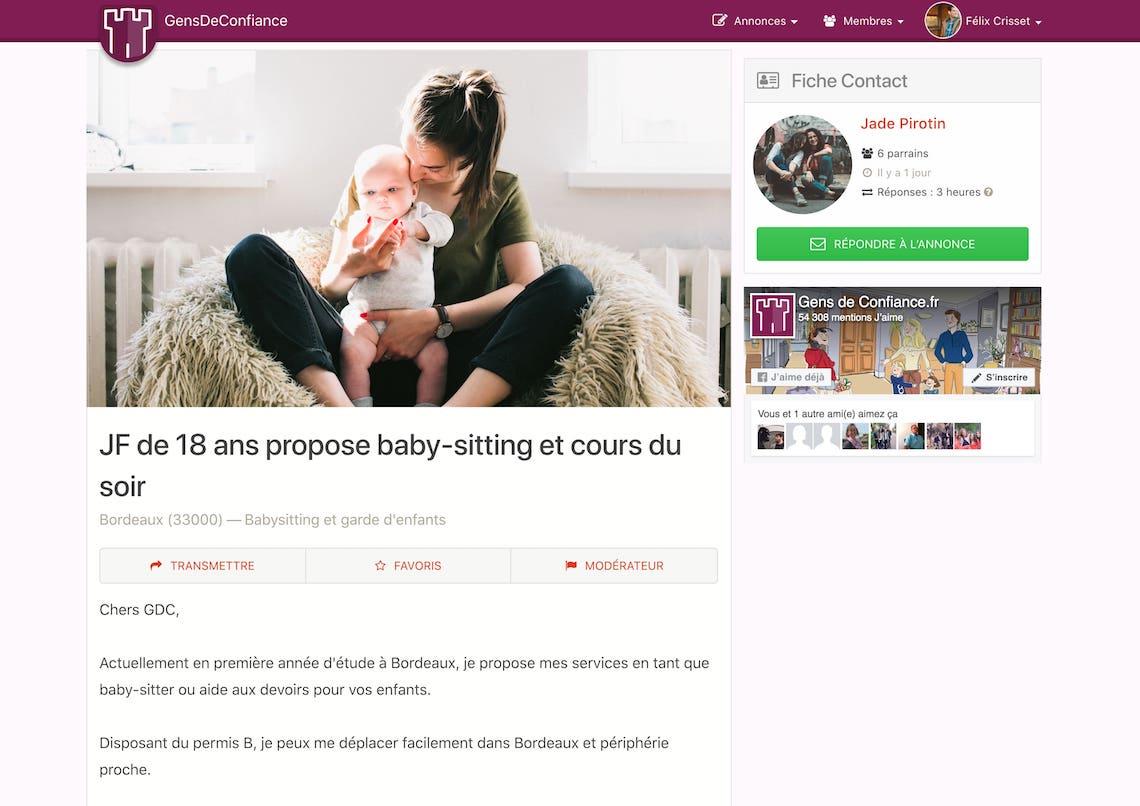 Un exemple d'annonce d'offre de babysitting