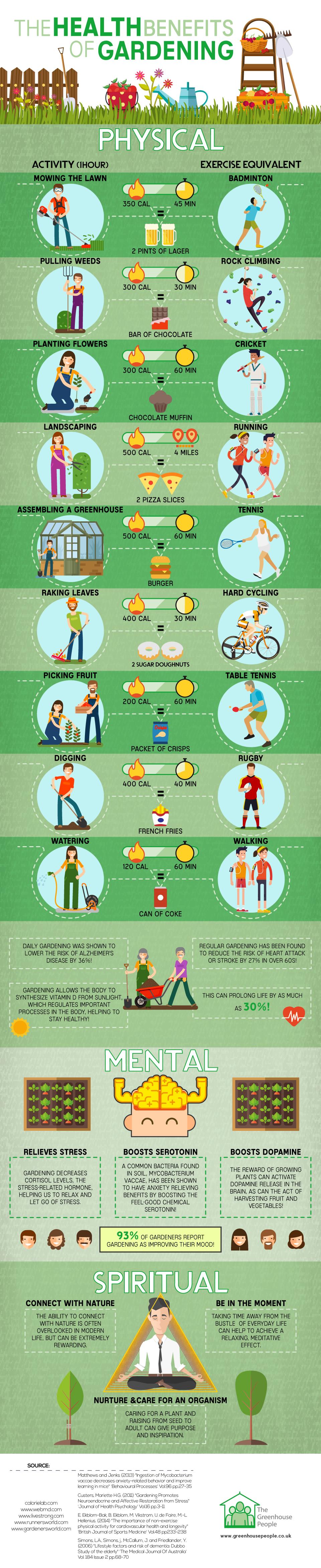 Health benefits of gardening infograph
