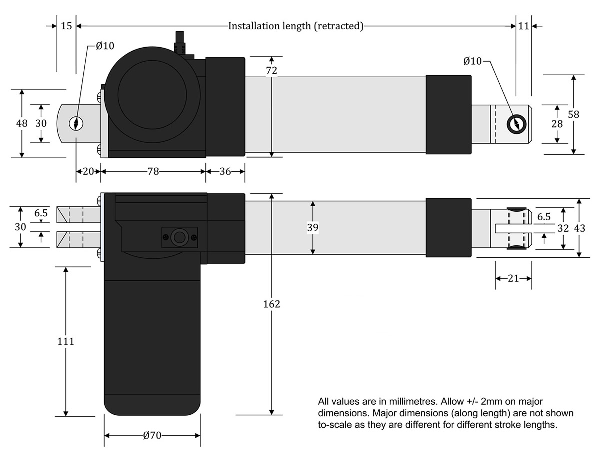 GLA4000-S Actuator Dimensions