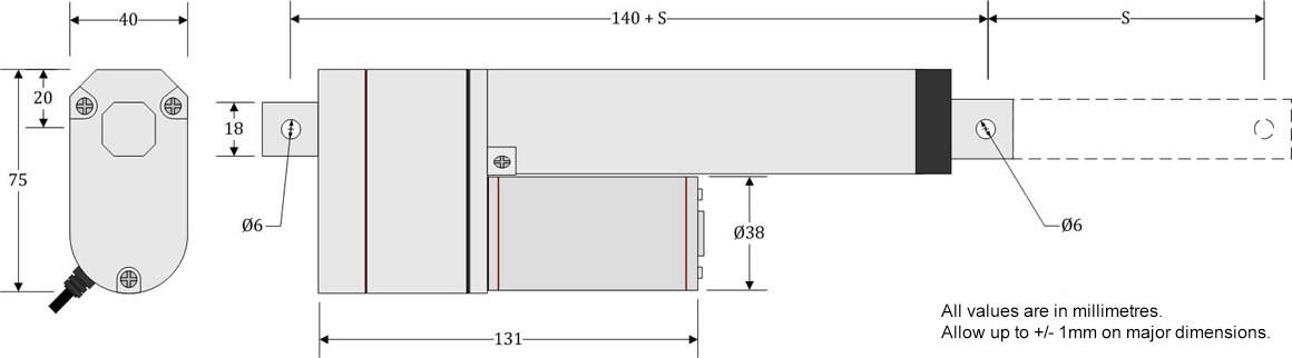 GLA750-P Actuator Dimensions
