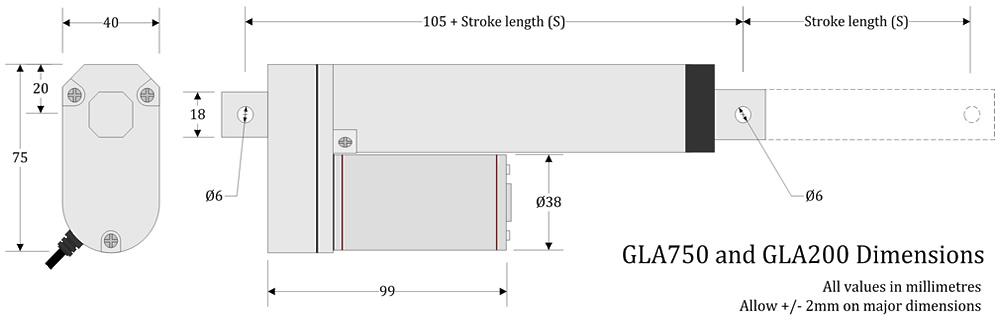 GLA750 Actuator Dimensions