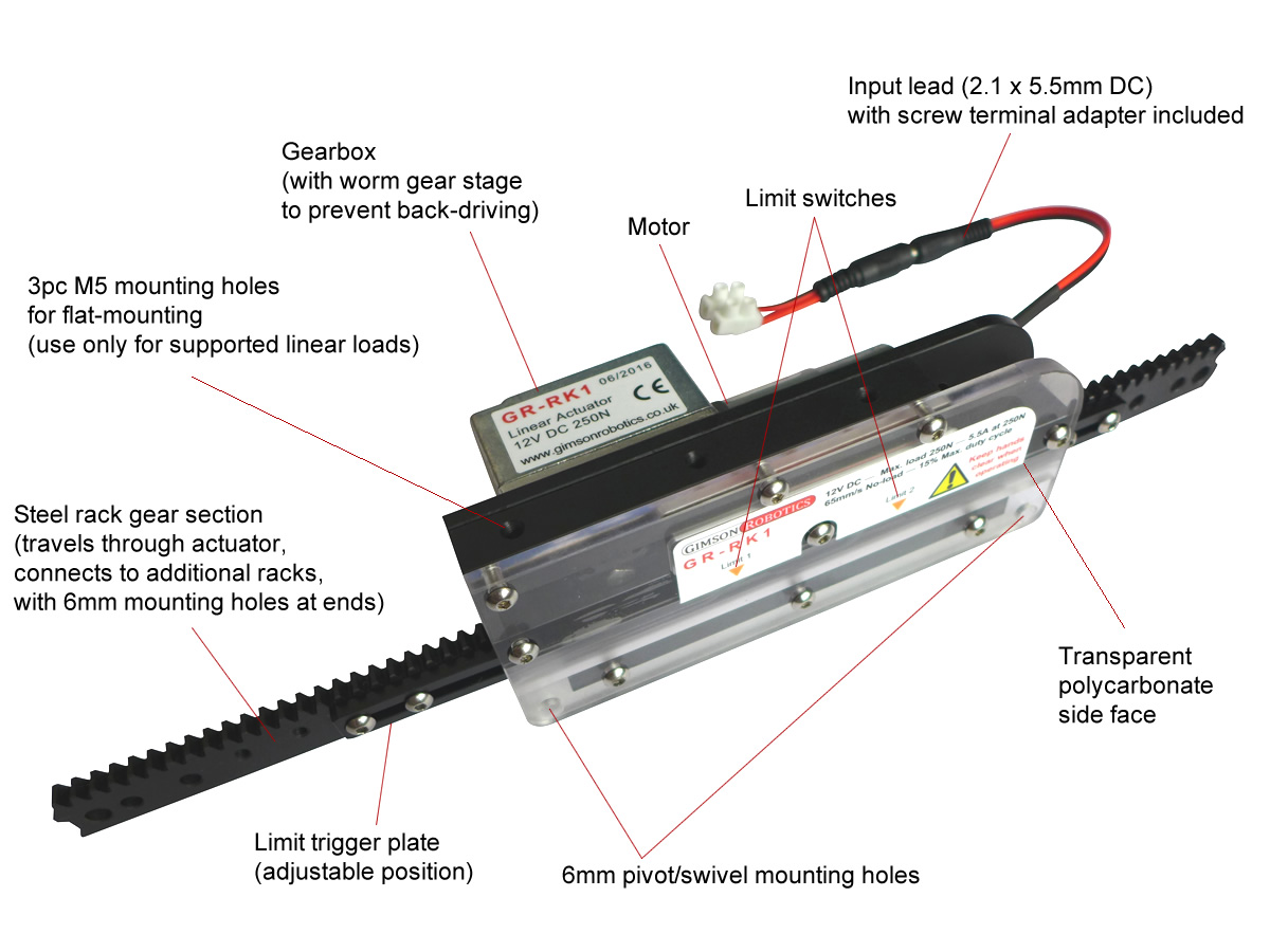 GR-RK1 Adjustable Length Rack & Pinion Linear Actuator ...