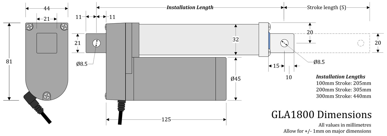 GLA1000 Actuator Dimensions