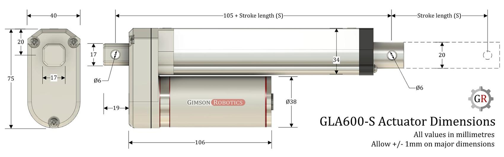 GLA600-S Actuator Dimensions
