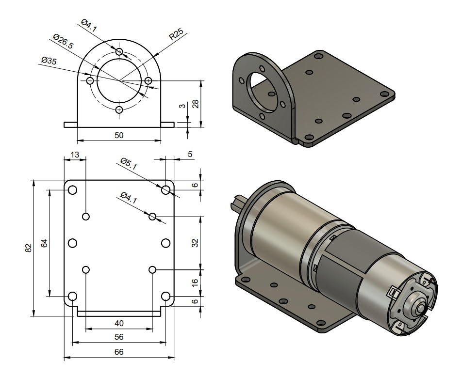 45mm Planetary Motor Gearbox Mounting Bracket
