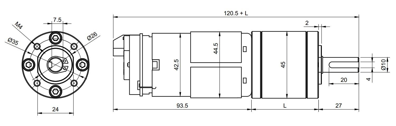 GR-EP-45ENC dimensioned diagram, 2D drawing