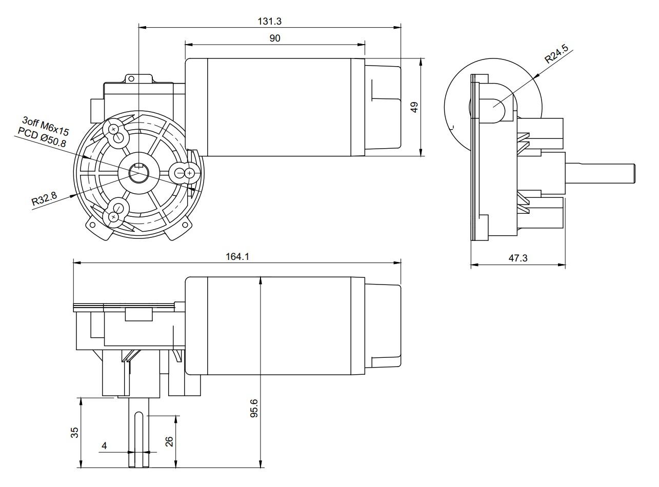 GR-WM5 Worm Geared Electric Motor Drawing